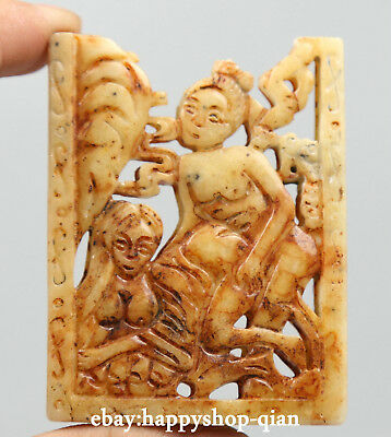65MM Chinese Old Jade Hand Carving Ancient Men Women Make Love Damaged Pendant