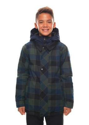 NEW 686 Woodlands Jacket Blue Green Plaid Youth Boys