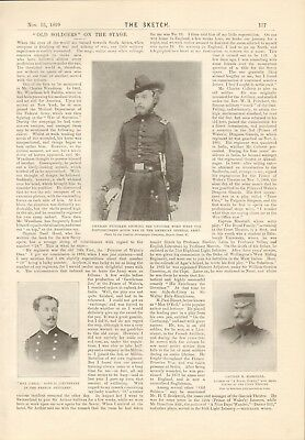 "1899  Antique Print- Boer War - ""old Soldiers"" On The Stage"