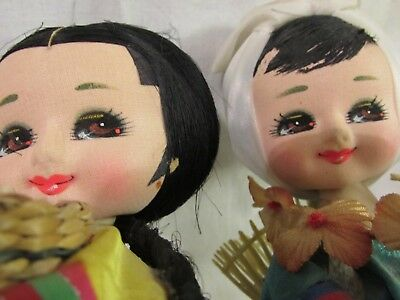 "Two Handmade Antique Oriental ""big - Eye"" Dolls Rare"