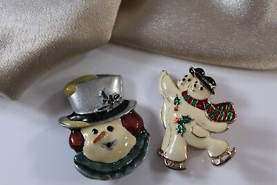 Vintage Christmas Brooch Pin Lot of 2 Enamel Pewter and Gold Tone Snowman