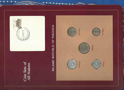 Coin Sets of All Nations Pakistan w/card 1987 UNC 1 Rupee, 50, 25, 10, 5 Paisa