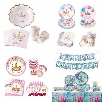 Unicorn Theme Cartoon Tableware Birthday Baby Shower Favour Box Cup Plate Napkin
