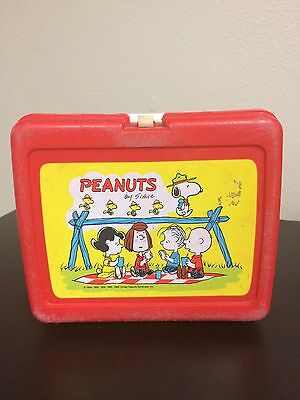 Vintage Peanuts Red Plastic Lunch Box by Thermos