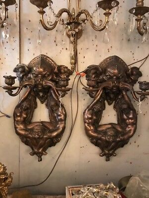 CHs Matched Pair Vintage Heavy Bronze To Arm Wall Sconce Figural Monkey Nudes