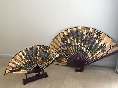 Oriental Accordian fans with Cherry wood Holder