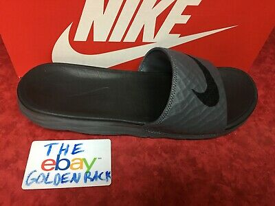 Nike BENASSI SOLARSOFT Mens Gray/Black 705474-090 Slide Sandal Free Ship