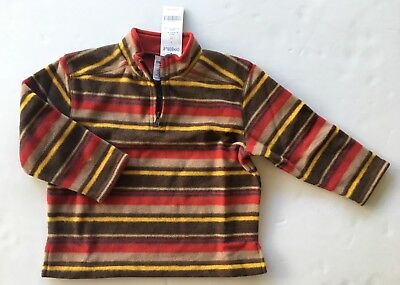 NWT Gymboree Alaskan Adventure 3 3T Red Stripe Micro Fleece Half Zip Pullover