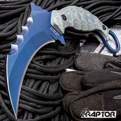 Timber Wolf Tactical Raptor Claw Karambit Combat Knife 5mm Full Tang Blue G10