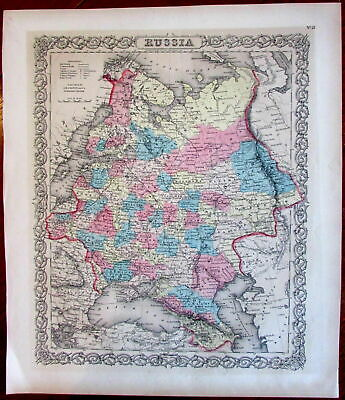 Russia St. Petersburg Moscow Crimea Black Sea 1885 Colton old antique color map