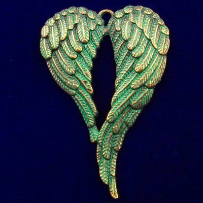 N18239 Carved Brass Bronze Wing Pendant Bead 68x45x3mm