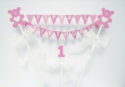 Handmade Personalised Cake Topper Bunting Teddy Bears Bows Birthday