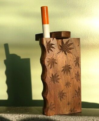 "Handmade Wood 4"" Dugout with etched leaves and One Hitter Bat"