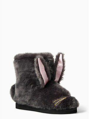 Kate Spade Bethie Bunny Faux Fur Rabbit Slippers NEW NWOB Womens 10