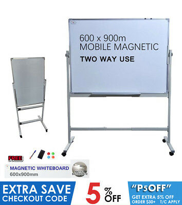 NEW Magnetic WHITEBOARD Stand 900mm x 600mm Quality Home Office Aluminum