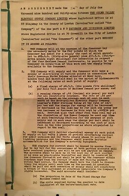 Document, Paterson & Dickinson And Colne Valley Electrical Supply Agreement 1939