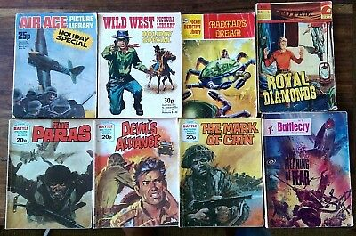 8 x 60's/70's british air ace/wild west/battle/battlecry/totem/detective comics