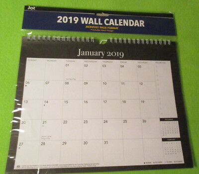2019 WALL MONTHLY Metal Hanging SPIRAL Calendar PLANNER - Black - Free Shipping