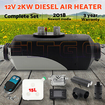 Newest 12V 2KW Diesel Air Heater Digital Thermostat Silencer T Piece Remote tank