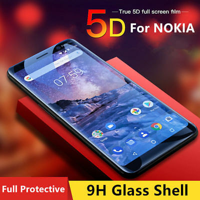 5D Full Coverage Tempered Glass Screen Protector For Nokia 3 5 6 8 & 6 2018