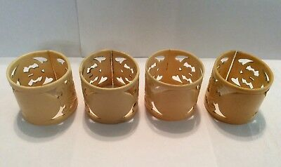 Vintage Ornate Celluloid Napkin Rings Lot of 4
