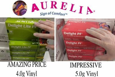 AURELIA DELIGHT LITE NON LATEX Powder FREE Clear Vinyl GLOVES FROM £1.49 A BOX