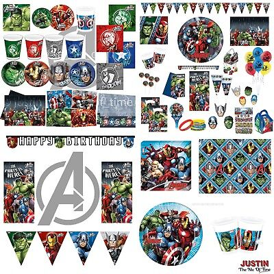 AVENGERS SUPER HERO Boys Birthday Party Tableware & Decorations CLEARANCE
