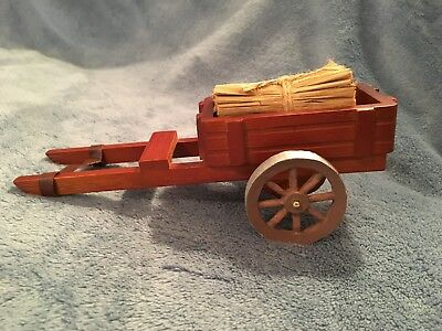 Miniature Wooden Vintage 8 inch Farm Wagon/Cart with hay bundle