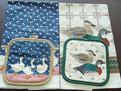 2 sets Vintage All Linen Printed Kitchen Towels & mittens,  unused made in USA
