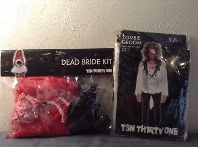 ~ Zombie Groom Large & Dead Bride Kit Acc. Costume Halloween Hot Topic Couples ~