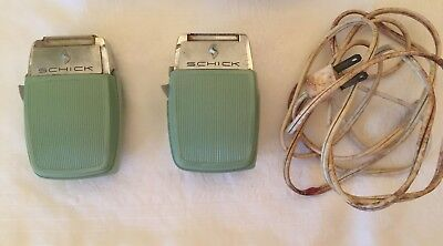 2 Vintage 1950's Schick Electric Woman's Shavers One Cord Light Green Color