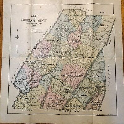 Map Of Somerset County, PA 1902 Charles Stanford Vellum Folded