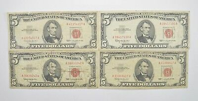 Lot of (4) $5.00 Red Seal Old US Notes Currency Collection 1963 *357