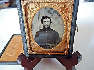 9th. P. Ambrotype Civil War Soldier Photo in Full Case CLEAR PHOTO NO TOUCH UP.