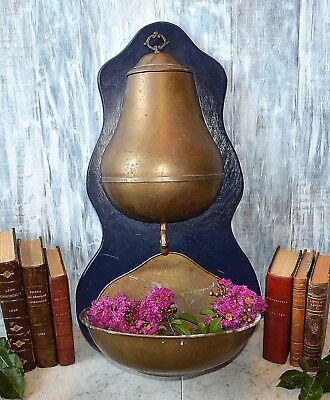 Vintage French Lavabo Water Basin Planter in Brass Mounted Dark Blue Wood Back