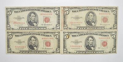Lot of (4) $5.00 Red Seal Old US Notes Currency Collection 1953 *342