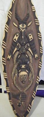 Vintage Wood carved small African Shield.Antelope,snake and fish design.