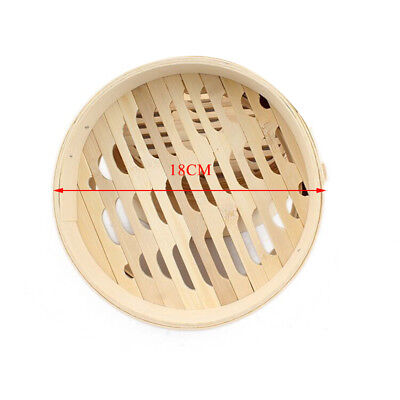 18/22cm Dia Small 2 Tier Round Bamboo Steamer Or Food Basket Handles Lid Chinese