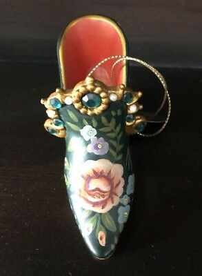 Stepping in Time - Miniature Jewelled Shoe - Tapestry Rose - Ashton Drake
