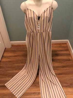 f07121bed4 EXPRESS WOMEN S PETITE Striped Wide Leg V-Wire Jumpsuit NWT Medium ...