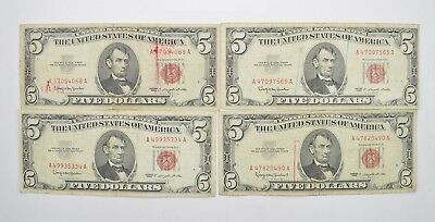 Lot of (4) $5.00 Red Seal Old US Notes Currency Collection 1963 *363