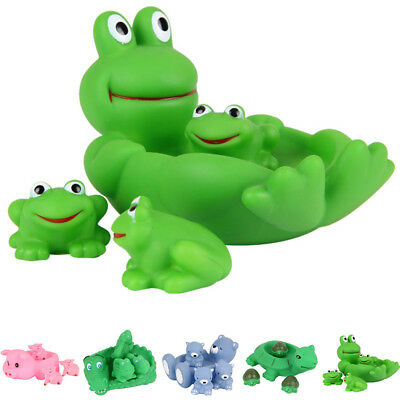 4Pcs Animals Swimming Floating Soft Rubber Squeeze Bathing Kids Bath Toys