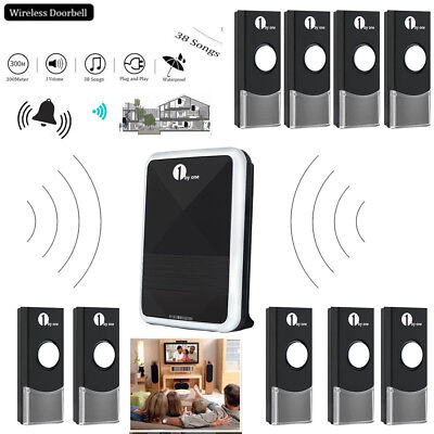 Wireless DoorBell Digital 36 Chime Door Bell 300M Waterproof Remote Control LED