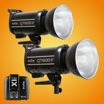 2PCS Godox QT-600IIM 2.4G Studio Strobe Flash Light + X1T-C Transmitter 100-120V