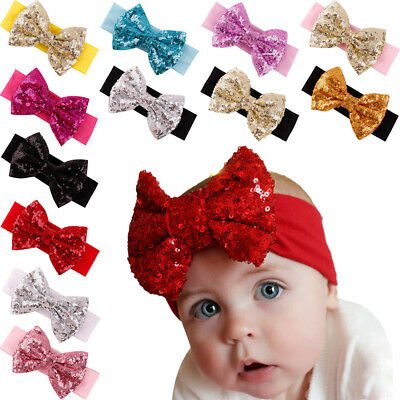 8pcs Sparkly Glitter Sequins Big Hair Bows Baby Girl  hair band
