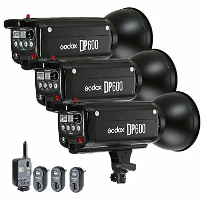 3X Godox DP600 600W Studio Strobe Flash Light Head w/ FT-16 Trigger Kit 220V