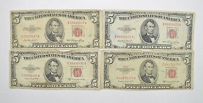 Lot of (4) $5.00 Red Seal Old US Notes Currency Collection 1953 *346