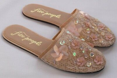 FREE PEOPLE Blush Nude Lace Floral Sequins Slip On Slippers Shoes Womens 39 NEW