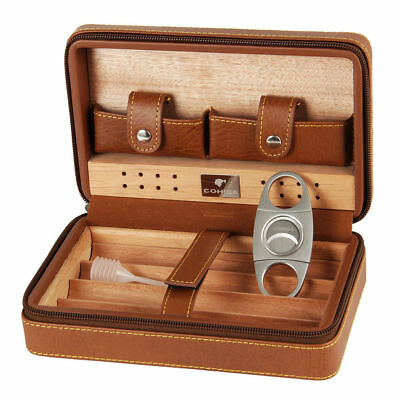 COHIBA Brown Quality Leather Cedar Lined Cigar Case Humidor With Cutter Set