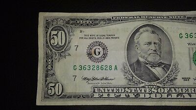 1993 $50 Fifty Dollar Bill Note Fancy serial#  Federal Reserve U S Currency rip